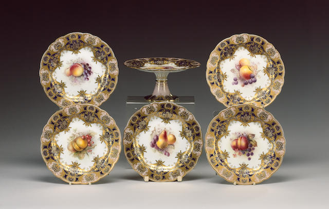 A Royal Worcester part dessert service, dated 1912, painted by Ricketts, Cole, Sebright and Martin