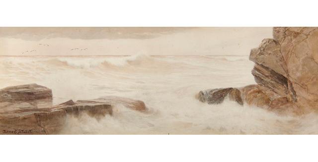 Ernest Stuart (fl.1889-1903) 'On The North Cornish Coast', 25.5 x 73.5cm (10 x 29in).