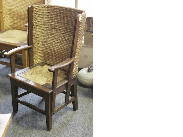 A late 19th/early 20th century oak framed Orkney chair