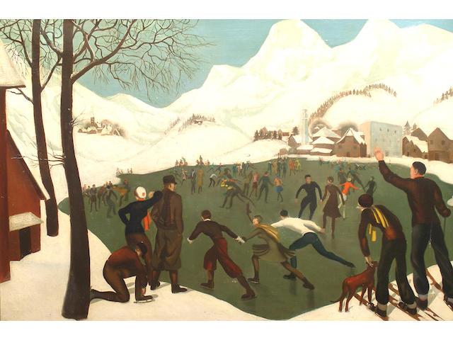 Anna Zinkeisen (British, 1901-1976) Skaters.
