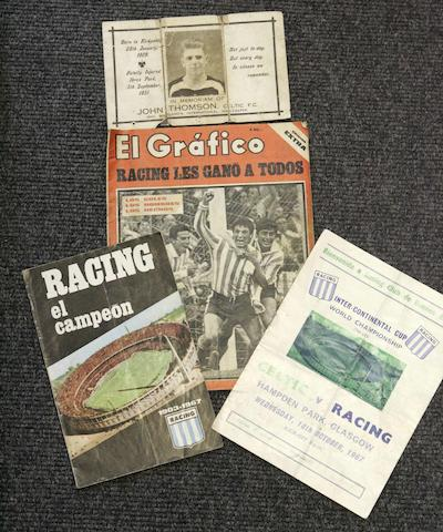 Celtic v Racing Club programmes