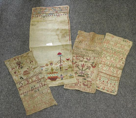 A group of four 19th century alphabet samplers
