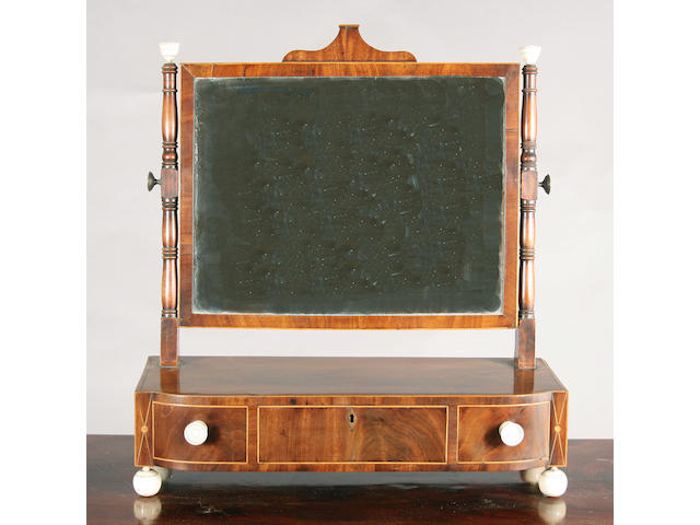 A George IV mahogany inlaid toilet mirror