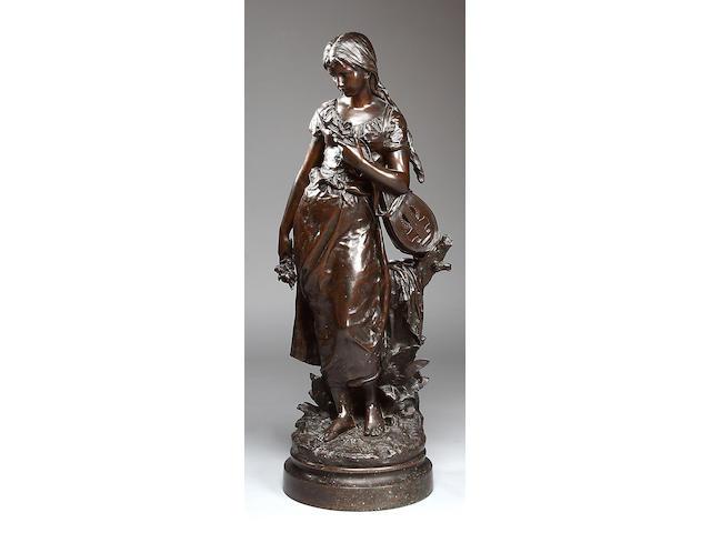 H. Moreau, a 19th century bronze figure of a girl