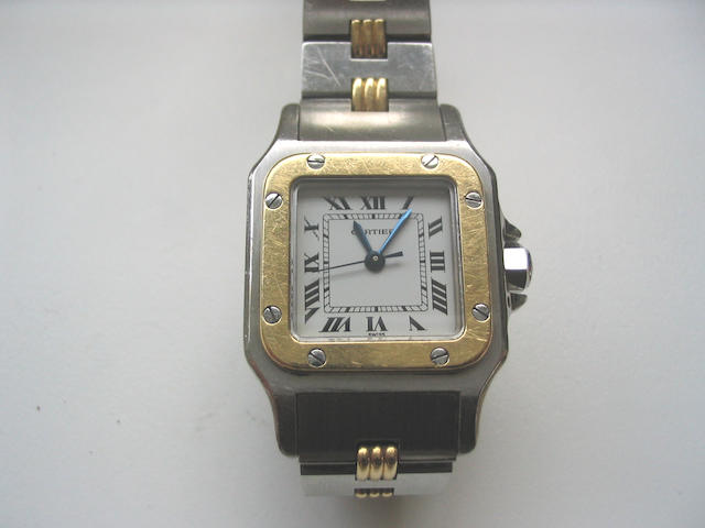 Cartier. A lady's steel and gold automatic wristwatch  Santos, 1980s