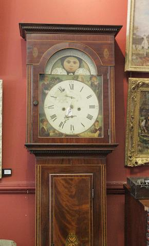 An early 19thC mahogany and inlaid longcase clock Barr of Hamilton