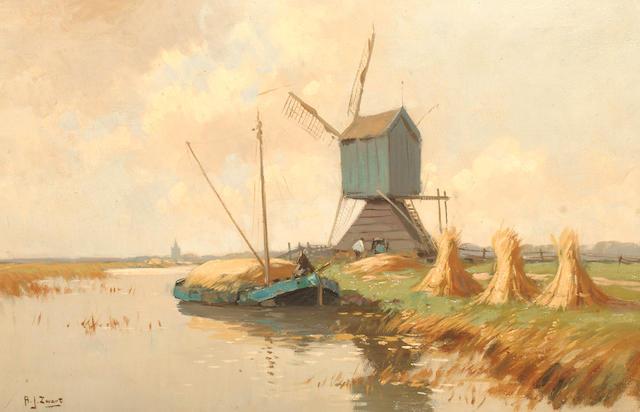 Adrianus Johannes Zwart (Dutch, 1903-1981) Hay harvesters near windmill.