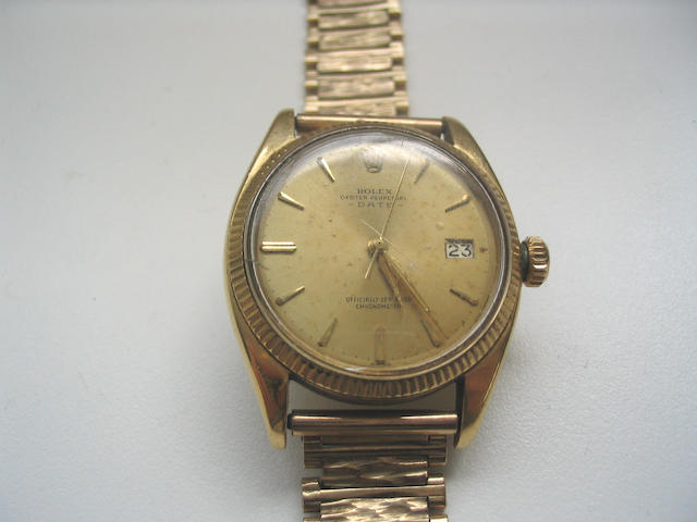 Rolex. An 18ct gold automatic centre seconds calendar watch Ref: 6537, 1960's