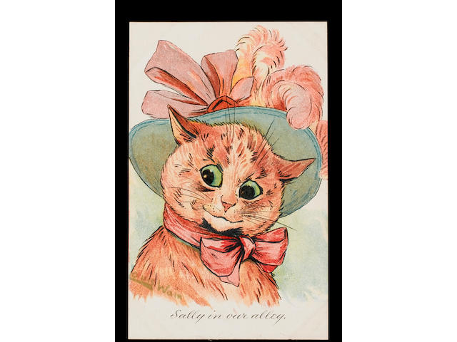 Cats A collection in an old time slot in album inc. Louis Wain (50), Boulanger, Ellam, Thiele, photographic, children etc., P-VG.