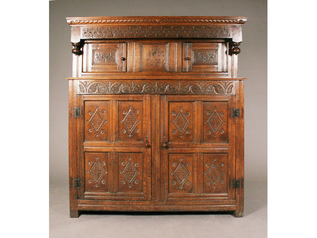 A late 17th century and later oak court cupboard