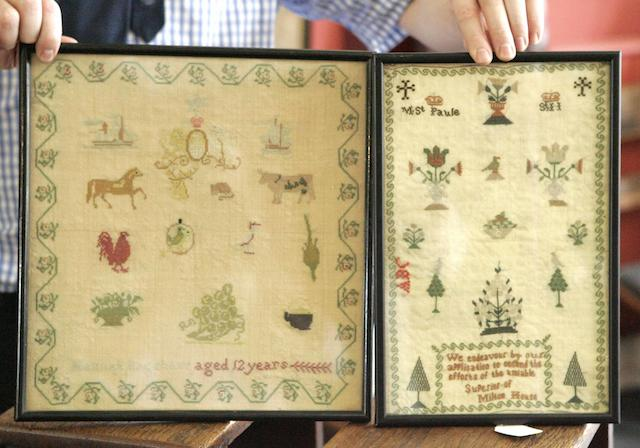 Two 19th century pictorial needlework samplersone by Hannah Bagshaw ages 12 years