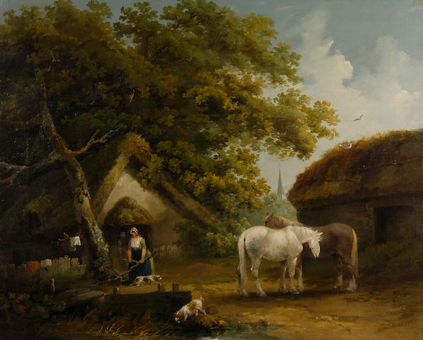 George Morland (1763-1804) A rustic scene with figures, horses and spaniels before a cottage 71 x 89cm (28 x 35in).