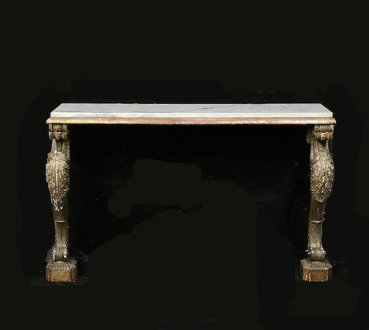 A gilt carved console table