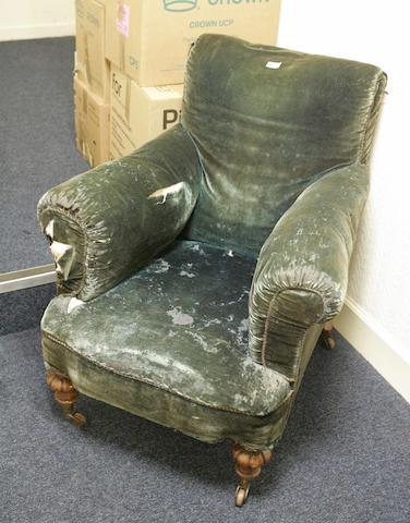 A Victorian ladies oak easy chair, circa 1870