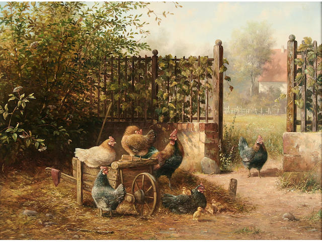 1 oil L A Feijen-farmyard scene with Dutch Bantums