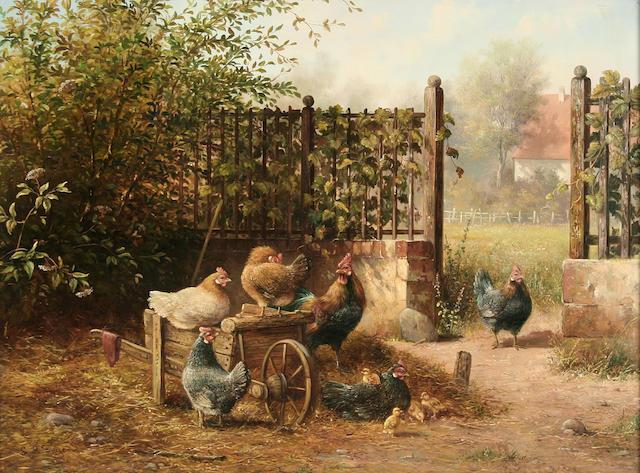 Leon Arie Feyen (or Feijen) (Holland 1947) Farmyard scene with Dutch Bantums,