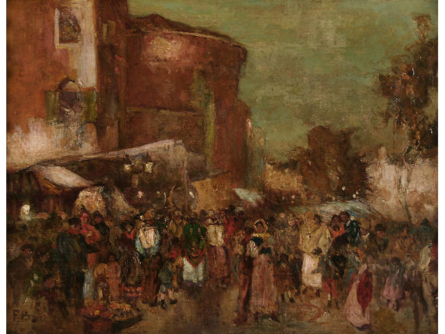 "Circle of Frank Brangwyn ""Torcello Gardens, Venice"" - street scene with figures,"