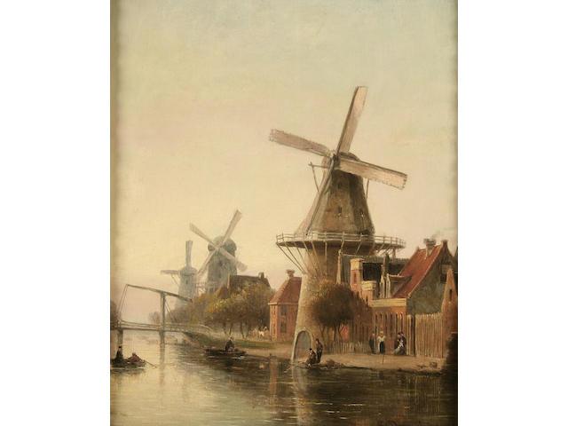 Cornelius Christian Dommersen (1842-1928) Dutch canal scene with figures,