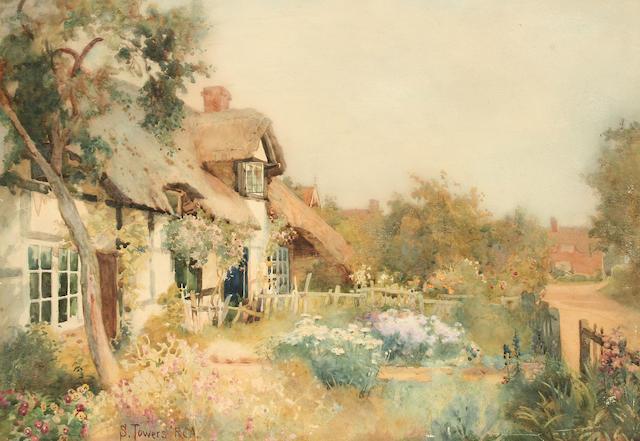 "Samuel Towers (1862-1943) ""Geil Cottage, Harvington near Evesham"", unframed,"