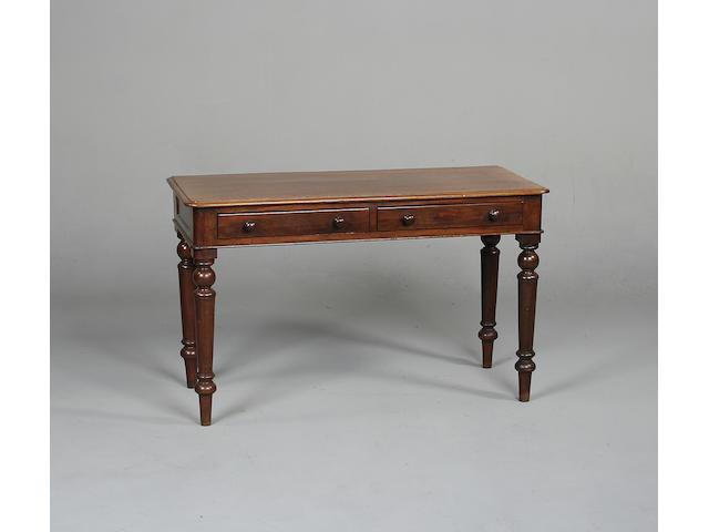 A Victorian mahogany side table 120cm wide x 52cm deep x 73cm high.