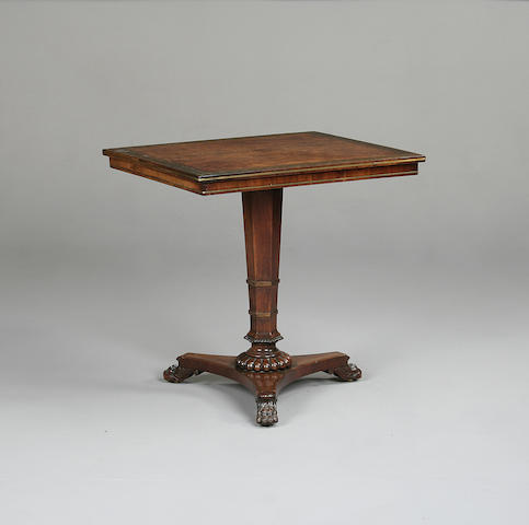 A Regency walnut and rosewood occasional table