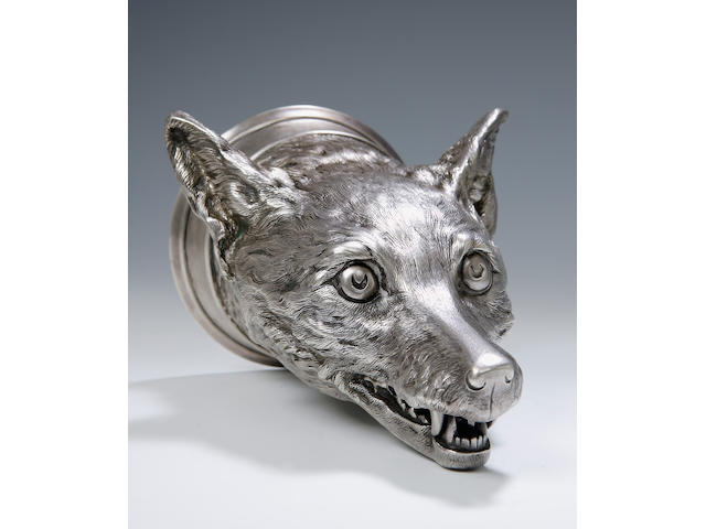 An early 20th century silver fox mask Stirrup Cup, By Holland, Aldwinckle and Slater, London 1904