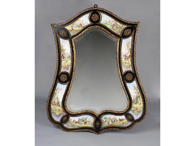 A 19th century ebonised wall mirror