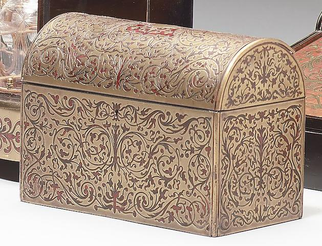 A late 19th / early 20th century boullework stationary box retailed by Asprey's