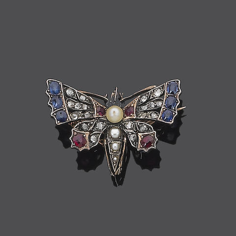 A 19th century gem-set butterfly brooch,