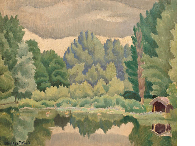 Ethelbert White (British, 1891-1972) The Boat House  25.5 x 30.5 cm. (10 x 12 in.)