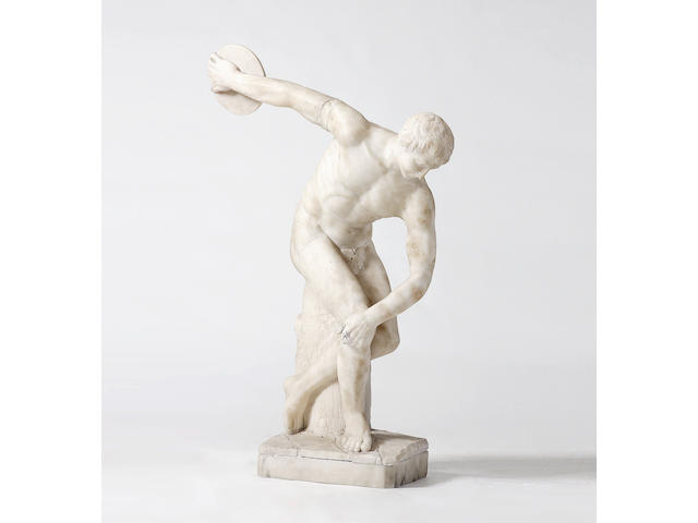 After the Antique, A carved white marble statue of a discus thrower