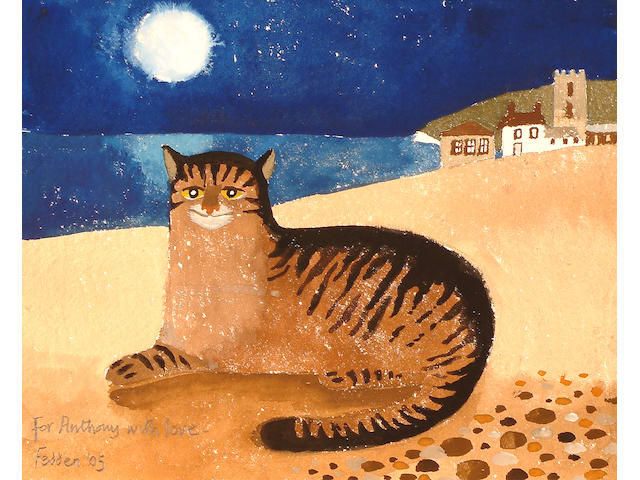 Mary Fedden (British, b.1915) Cat on a beach.