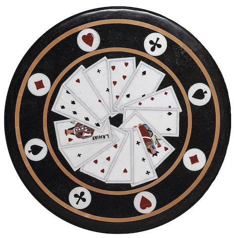 A decorative Italian pietra dure circular table top