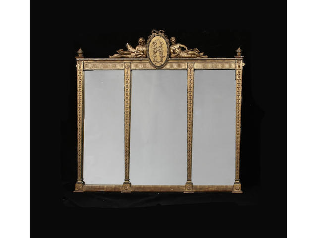 A late 19th century giltwood and composition triple plate over mantle mirror