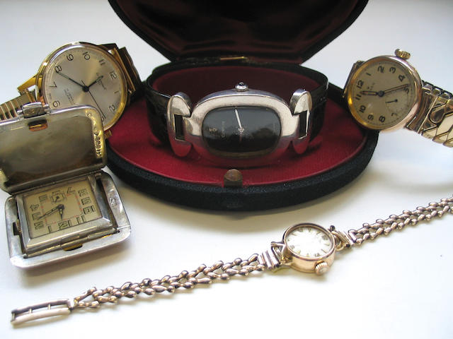 A lot of 5 various wristwatches, including a 9ct gold Rolex