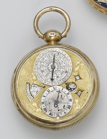 A rare late 17th century astronomical verge pocket watch movement in a later case Robert Seignior, London