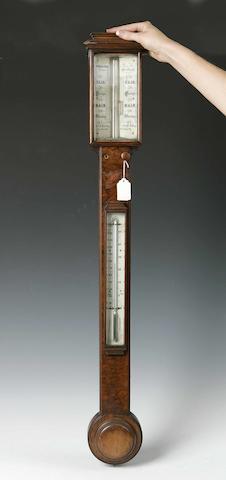 Early Victorian walnut stick barometer by Adie & Son Princes St. Edinburgh