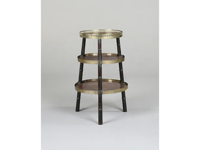 A late Regency mahogany and brass three tier circular whatnot