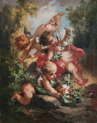 V* Schunten (19th Century) European Putti with a garland, a posy and a bow and arrow,