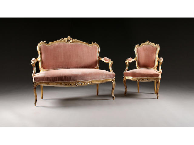 A 20th Century giltwood five-piece salon suite