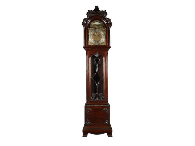 An Edwardian mahogany chiming longcase clock, retailed by Tiffany and Co.,