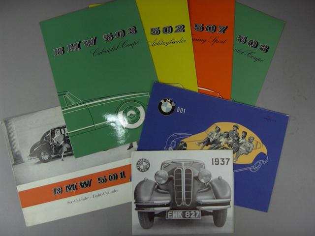 A selection of BMW sales literature,