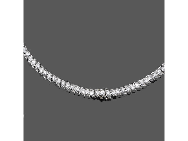 A diamond line necklace,