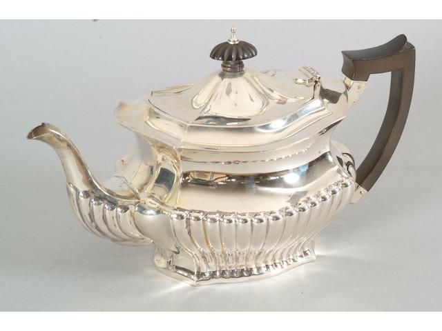 An Edwardian matched three piece tea set C.C.Pilling, 1902, 1903 and 1904,