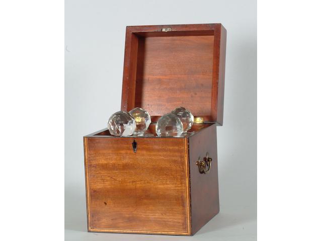 An early 19th Century mahogany decanter box