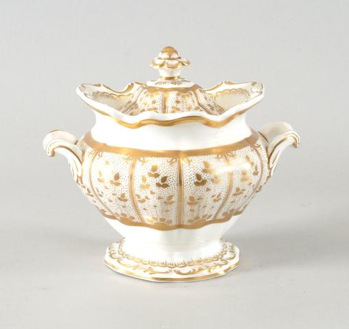 A three piece part dessert service painted with London views, two slop bowls, and a sucrier with cover (7)