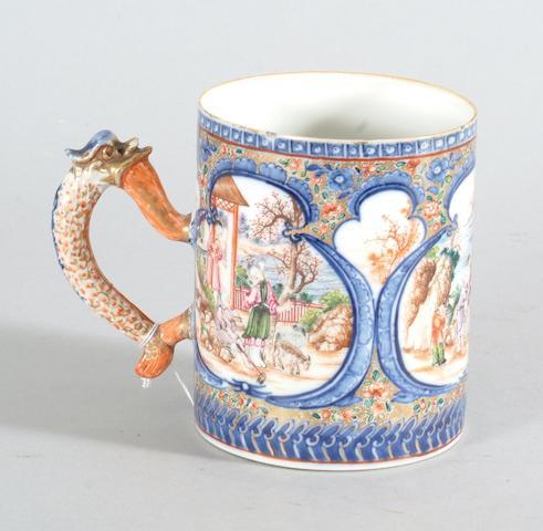 A Chinese export porcelain famille rose mug