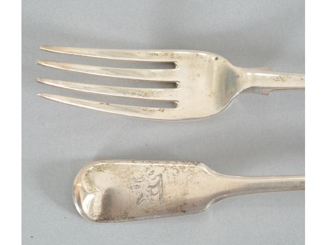 A set of eight Victorian dinner forks Mayer, Exeter 1850,  (8)