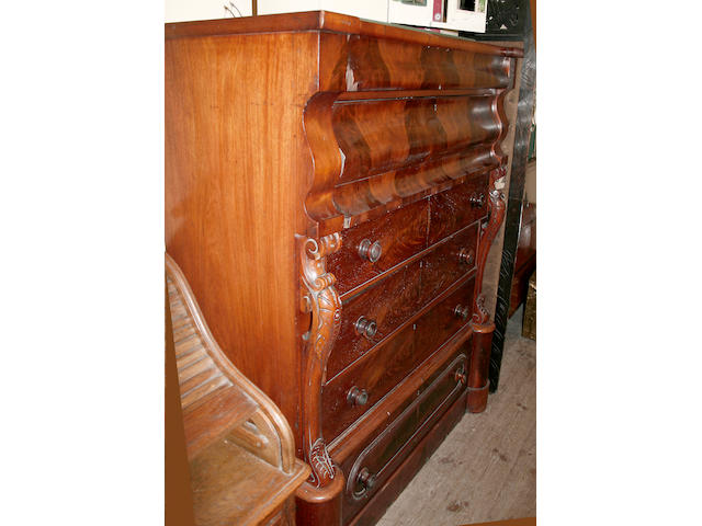 A large Victorian mahogany chest,