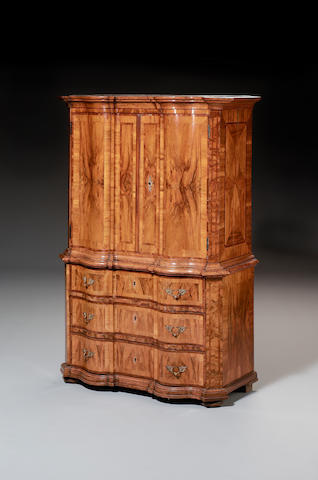 An 18th century Swiss/German? walnut, oak and plum marquetry Schrank/Commode